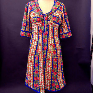 1970s Feel The Flowered Power Fitted Dress